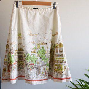 RARE J. Crew A-line Parisian Cityscape Skirt